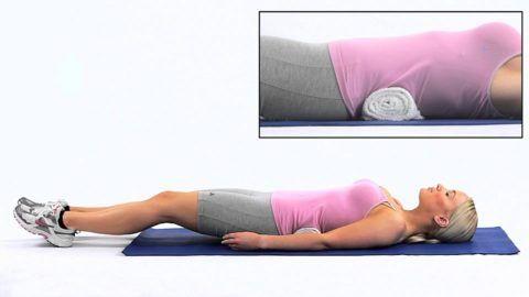 Для упражнений в ИП: лежа на спине, - понадобятся валики и подушечка