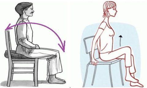 Для этих упражнений стул должен быть устойчивым, при необходимости подложите под ягодицы небольшую подушку