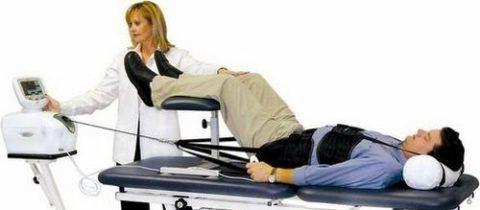 Основа лечения – сеансы вытяжения позвоночника на протяжение 2-х месяцев