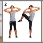 1 – наклоны в сторону, 2 – подъём колена к локтю, 3 – наклон торса к поднятой ноге