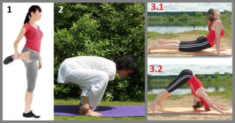 1 – поднятие колена, 2 – поза Стул, 3 – из позиции прогнувшись в упор согнувшись
