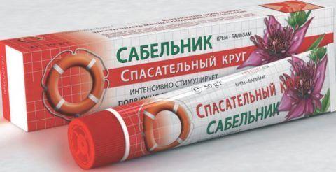 Гель или бальзам с сабельником улучшает кровообращение и трофику в суставных тканях.
