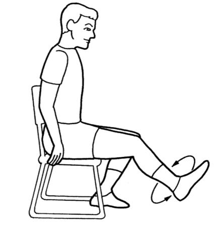 Можно выполнять вращения стопой сидя на стуле.