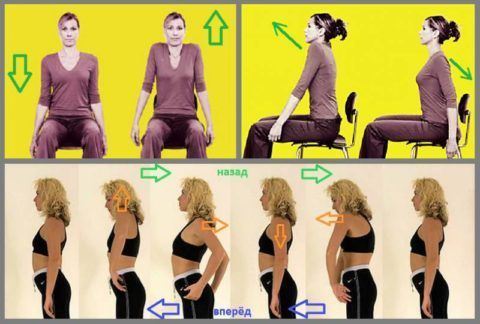 Сделайте по 4 движения: вперёд и вниз; вверх-вперёд и вниз-назад; круговые назад и вперёд