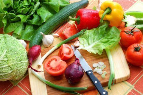 Свежие овощи для рациона
