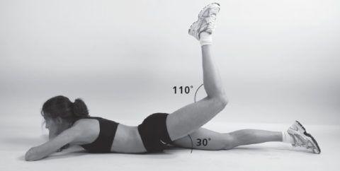 Угол сгибания в поднятом коленном суставе может быть в пределах от 90 до 110 градусов