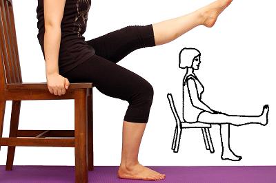 Удержание прямой ноги, сидя на стуле