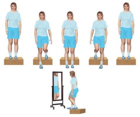 На фото показано, как выполняются шаги на ступеньке вперед и в сторону