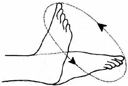 Вращение голеностопом улучшит кровообращение больной конечности.