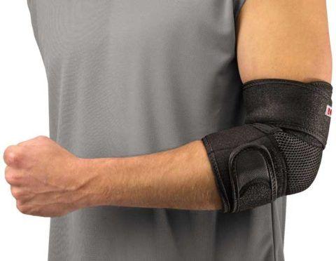 Применение бандажа при травмировании локтевого сустава.