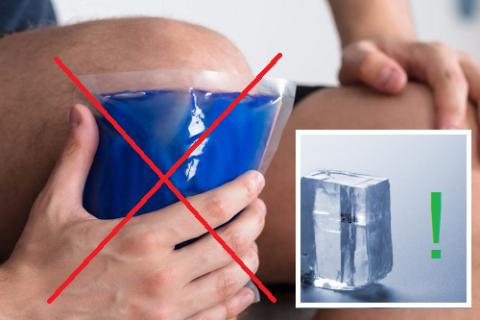 Не пользуйтесь сухим холодом, спортивные врачи советуют обычные кубики льда