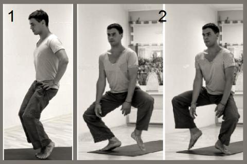 Укрепление квадрицепса: 5 секунд в позе 1, затем 6 шагов – чередовать в течение 5 минут