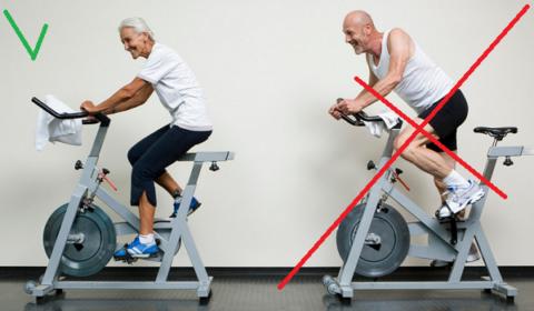 При остеоартрозе крутите педали сидя, нагрузка не должна вызывать дискомфорт