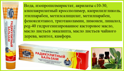 Полный состав компонентов массажного средства из линейки «сделано по ГОСТу»