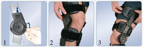 Порядок действий при надевании брейса на колено с боковой фиксацией